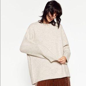 Zara • Sand Round Neck Oversized Sweater